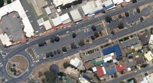 Benabrow carpark and roundabout in 2013. The gardens that had been planted have now disappeared